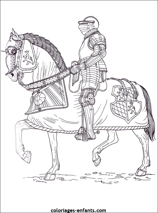 Les coloriages de chevaliers imprimer - Coloriage de cavaliere ...