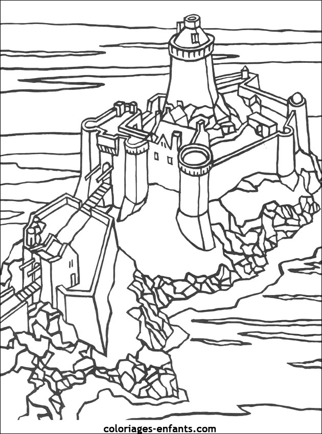 Coloriage Chateau Fort Chevalier